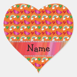 Custom name orange watermelons rainbows hearts sticker