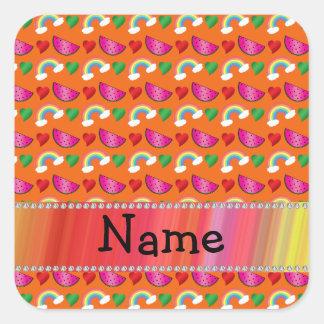 Custom name orange watermelons rainbows hearts square stickers