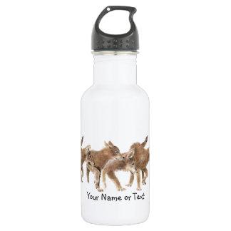 Custom Name Original Watercolor Wolf Pups Stainless Steel Water Bottle