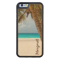 Custom Name Palm Tree Beach Tropical Carved Maple Iphone 6 Bumper Case at Zazzle