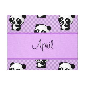 Custom Name Panda Bears on Purple Gingham Canvas Print