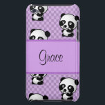 "Custom Name Panda Bears on Purple Gingham iPod Touch Case<br><div class=""desc"">Adorable Panda&#39;s on a purple gingham background</div>"