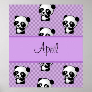 Custom Name Panda Bears on Purple Gingham Poster