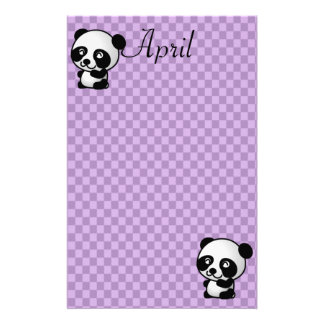 Custom Name Panda Bears on Purple Gingham Stationery