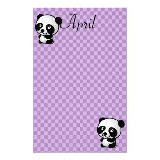 Custom Name Panda Bears on Purple Gingham Stationery