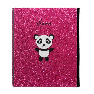 Custom name panda pink glitter iPad case