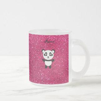 Custom name panda pink glitter coffee mugs