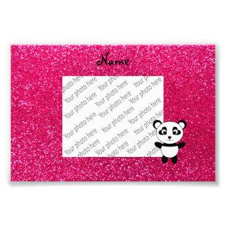 Custom name panda pink glitter photographic print