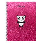 Custom name panda pink glitter spiral notebook