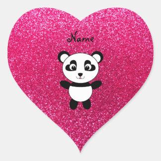 Custom name panda pink glitter heart sticker