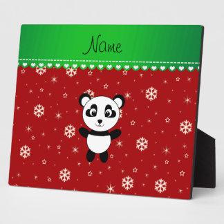 Custom name panda red snowflakes green stripe display plaque