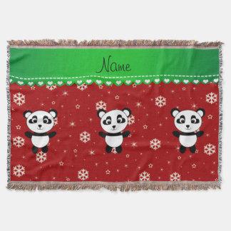 Custom name panda red snowflakes green stripe throw blanket