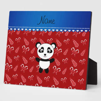Custom name panda red snowmen candy canes plaques