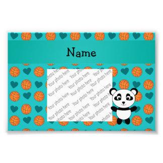 Custom name panda turquoise basketball hearts photographic print
