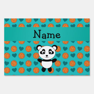 Custom name panda turquoise basketball hearts yard signs