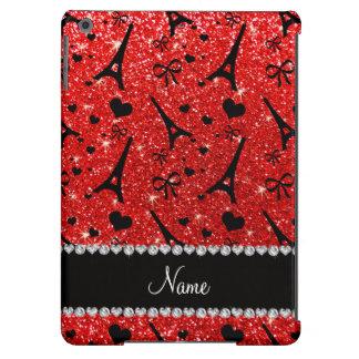 Custom name paris eiffek tower neon red glitter iPad air covers
