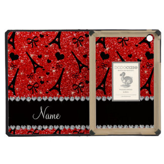 Custom name paris eiffek tower neon red glitter iPad mini cases