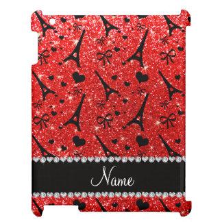 Custom name paris eiffek tower neon red glitter cover for the iPad 2 3 4