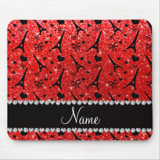 Custom name paris eiffek tower neon red glitter mouse pad