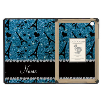 Custom name paris eiffel tower sky blue glitter iPad mini cases