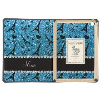 Custom name paris eiffel tower sky blue glitter iPad air case