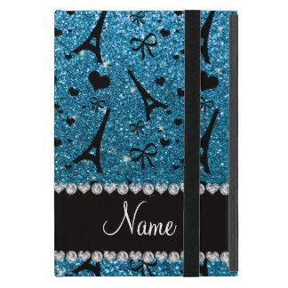 Custom name paris eiffel tower sky blue glitter cases for iPad mini