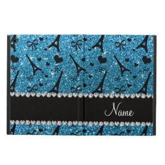 Custom name paris eiffel tower sky blue glitter powis iPad air 2 case
