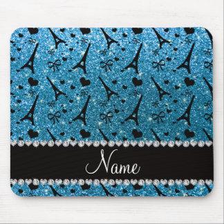 Custom name paris eiffel tower sky blue glitter mouse pad