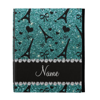 Custom name paris eiffel tower turquoise glitter iPad folio cases