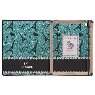 Custom name paris eiffel tower turquoise glitter iPad covers