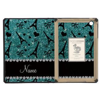 Custom name paris eiffel tower turquoise glitter iPad mini cover