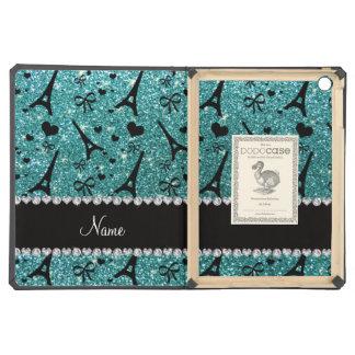 Custom name paris eiffel tower turquoise glitter iPad air covers
