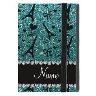 Custom name paris eiffel tower turquoise glitter iPad mini cases