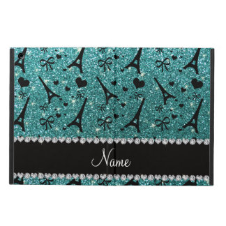 Custom name paris eiffel tower turquoise glitter case for iPad air