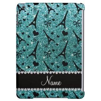 Custom name paris eiffel tower turquoise glitter iPad air cases