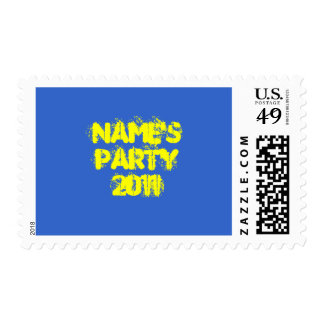 Custom Name. Party 2011. Bright Colorful Postage Stamps