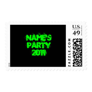 Custom Name. Party 2011. Green and Black Postage