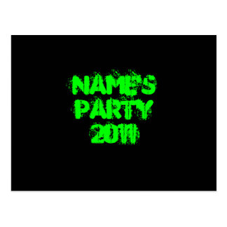 Custom Name. Party 2011. Green and Black Postcard