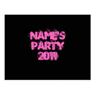 Custom Name. Party 2011. Pink and Black Postcard