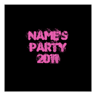 Custom Name. Party 2011. Pink and Black Print
