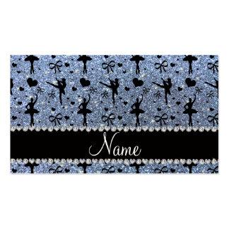 Custom name pastel blue glitter ballerinas business cards