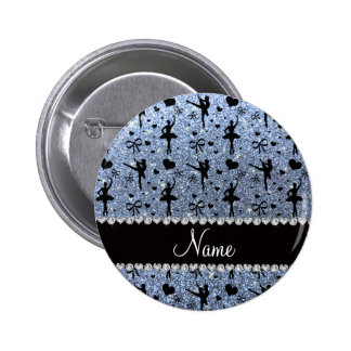 Custom name pastel blue glitter ballerinas pinback button