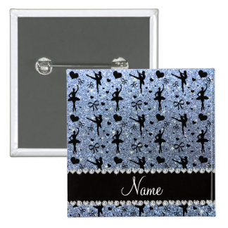 Custom name pastel blue glitter ballerinas pinback buttons