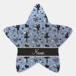 Custom name pastel blue glitter ballerinas star sticker