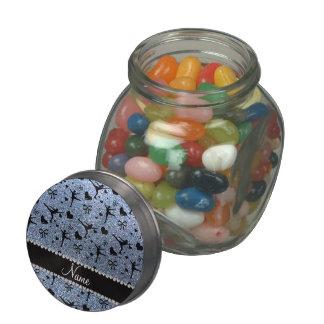 Custom name pastel blue glitter figure skating glass candy jars