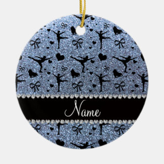 Custom name pastel blue glitter figure skating ceramic ornament