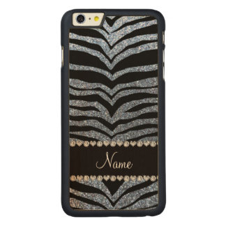 Custom name pastel blue glitter tiger stripes carved maple iPhone 6 plus case