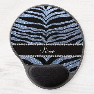 Custom name pastel blue glitter tiger stripes gel mouse mats