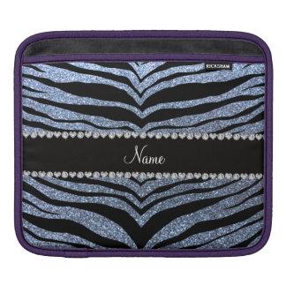 Custom name pastel blue glitter tiger stripes sleeve for iPads