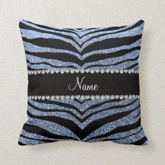 Custom name pastel blue glitter tiger stripes throw pillow